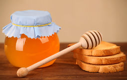 Pot of honey and rusks Royalty Free Stock Image