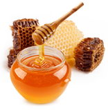 Pot of honey and wooden stick. Stock Photos