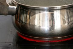 Pot on Hot Plate. Stainless steel pot on a hot plate of a stove Royalty Free Stock Photography