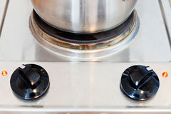 Pot on hotplate electric stove Stock Photo