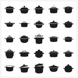 Pot icon set in simple monochrome style. Pan and saucepan and pot and casserole and cooker or stewpan icon set Created For Mobile, Web, Decor, Print Products Stock Photography