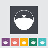 Pot icon. Pot. Single flat icon on the button. Vector illustration Royalty Free Stock Photography