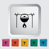 Pot icon. Pot. Single flat icon on the button. Vector illustration Stock Photos