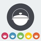 Pot icon. Pot. Single flat icon on the circle button. Vector illustration Stock Photo