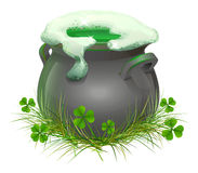 Pot of Irish beer. Irish ale brewed in the cauldron. Patricks Day. Isolated on white vector illustration royalty free illustration