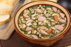 Pot of Kielbasa Soup Royalty Free Stock Image