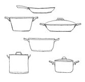 Pot kitchen hand drawn line art cute illustration Stock Photography