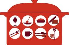 Pot with kitchenware set Royalty Free Stock Image