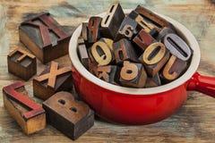 Pot of letterpress wood type Stock Photo