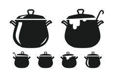 Pot with lid, pan of soup silhouette. Cooking, cuisine, cookery, culinary art, kitchen icon or logo. Vector illustration. Pot of soup, pan silhouette. Cooking Royalty Free Stock Image