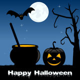 Pot magique de Halloween et potiron fantasmagorique Photo libre de droits