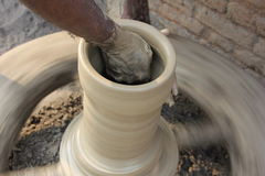 Pot Making. Indian Pottery Pot Making, Close-up,hands close-up Stock Images