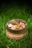 Pot met gouden muntstukken Stock Foto's