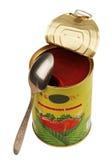 Pot met tomatensaus Stock Foto