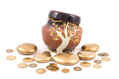 Pot with mone Royalty Free Stock Photography