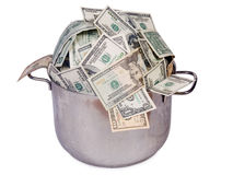 Pot of money Royalty Free Stock Photos