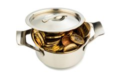 Pot of money. A cooking pot is well filled with euro coins, symbolic photo for funding Stock Image