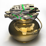 Pot of money isolated Royalty Free Stock Photography