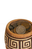 A pot of money, old silver and copper coins isolated on white background Stock Images