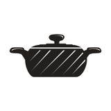 Pot noir de cuisinier Photographie stock libre de droits