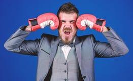 pot??ny m??czyzny bokser gotowy dla korporacyjnej bitwy biznesmen w formalnym kostiumu i ??ku krawacie brodaty m??czyzna w bokser obraz royalty free