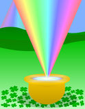 Pot-O-Gold. Pot of gold at the end of a rainbow vector illustration