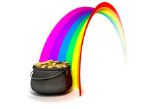 Pot O' Gold At The End Of A Rainbow Stock Photo