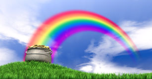 Free Pot Of Gold And Rainbow On Grassy Hill Royalty Free Stock Images - 36069659