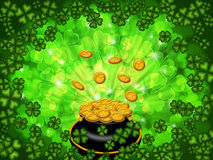Pot Of Gold On Four Leaf Clover Background Royalty Free Stock Photos