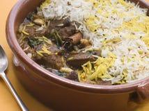Pot Of Lamb Biryani With A Spoon Stock Image