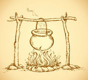 Pot On The Fire. Vector Drawing Royalty Free Stock Photography