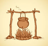 Pot On The Fire. Vector Drawing Stock Photography