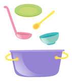 Pot and other kitchen utensils Royalty Free Stock Photos