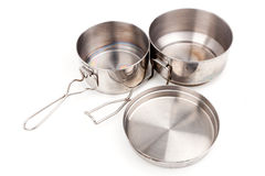 Pot outdoor camping cooking. Camping Pot, Spork, Cup and Frying Pan Cookware for Mountain Camping Stock Photography