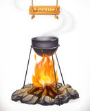 Pot over the campfire. 3d vector icon Stock Photos