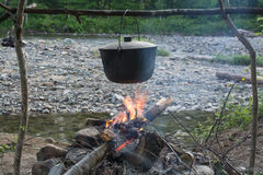 Pot over a fire in the forest Stock Photography