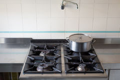 Pot over the stove of industrial kitchen in stainless steel Royalty Free Stock Photography