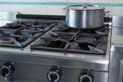 Pot over the stove of industrial kitchen in stainless steel Stock Image