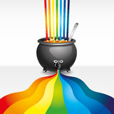 Pot of paint and rainbow. Royalty Free Stock Photos