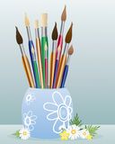 Pot of paintbrushes Royalty Free Stock Photography