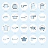 Pot, pan and steamer flat line icons. Restaurant professional equipment signs. Kitchen utensil - wok, saucepan Royalty Free Stock Photography