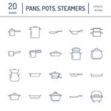 Pot, pan and steamer flat line icons. Restaurant professional equipment signs. Kitchen utensil - wok, saucepan Royalty Free Stock Photos