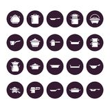 Pot, pan and steamer glyph icons. Restaurant professional equipment signs. Kitchen utensil - wok, saucepan, eathernware. Dish. Silhouette signs for commercial royalty free illustration