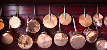 Pot and Pans. Medieval brass pots and pans Stock Images