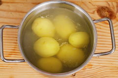 Pot with peeled potatoes Stock Image