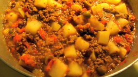 Pot of Picadillo Mexican Food stock footage