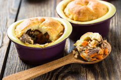 Pot pie in ramekin with vegetables Royalty Free Stock Photos