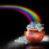 POT in pieno di soldi con il Rainbow Fotografie Stock Libere da Diritti