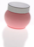 Pot of pink skin cream Royalty Free Stock Images