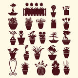 Pot plants  garden flowers  and  herbs. Icons set of  pot plants  garden flowers  and  herbs in silhouette Stock Photography